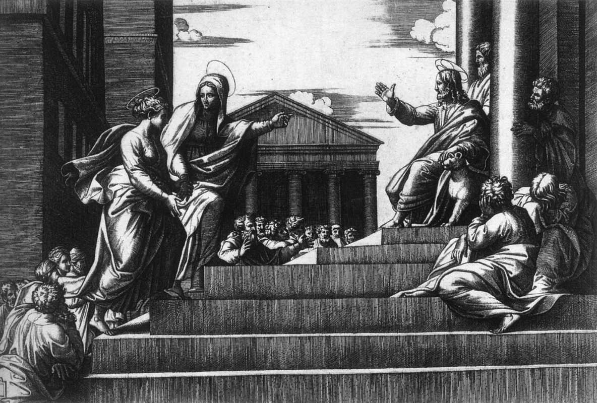 marcantonio-raimondi-jesus-before-the-temple